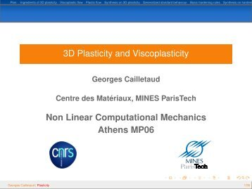 3D Plasticity and Viscoplasticity - mms2 - MINES ParisTech