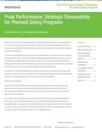 Strategic Stewardship for Planned Giving Programs - Blackbaud, Inc.
