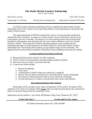 The Dottie Martin Teachers Scholarship - College Foundation of ...