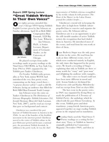 """Great Yiddish Writers In Their Own Voices"" - Chicago YIVO Society"