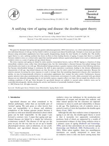 A unifying view of ageing and disease: the double-agent ... - Nick Lane