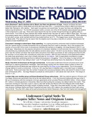 Wednesday, May 27, 2009 Newsroom: (800) 290-6301