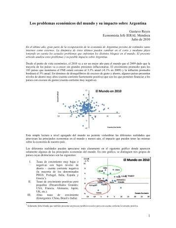Los problemas económicos del mundo y su impacto sobre Argentina