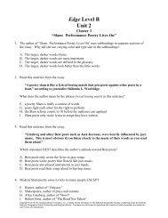 Edge Level B Unit 2 - Division of Language Arts/Reading