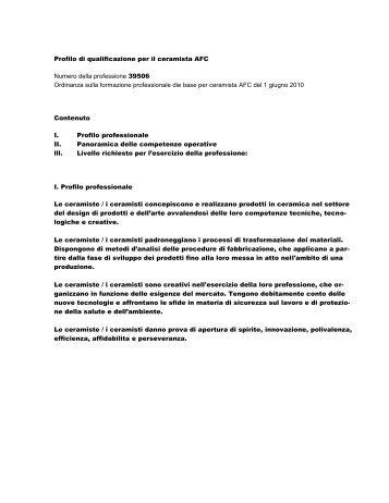 Profilo di qualificazione per il ceramista AFC - Swissceramics