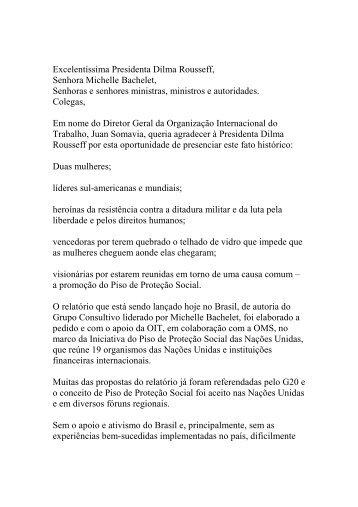 Excelentíssima Presidenta Dilma Rousseff, Senhora Michelle ... - OIT