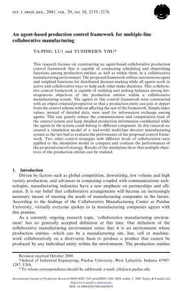 An agent-based production control framework for multiple-line ...