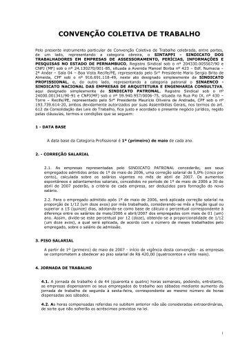 CONVENÇÃO COLETIVA DE TRABALHO - Sinaenco