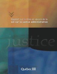 Rapport sur la mise en oeuvre de la Loi sur la justice administrative