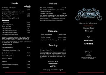 Massage Facials Tanning - Gorgeous Hair Salon
