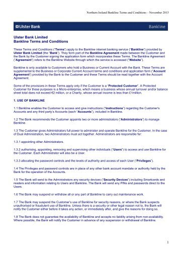 Ulster Bank Limited Bankline Terms and Conditions 1
