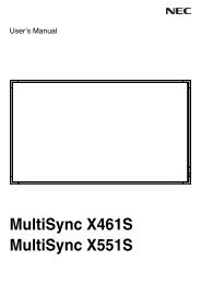 X461S, X551S video wall user manual - NEC Display Solutions