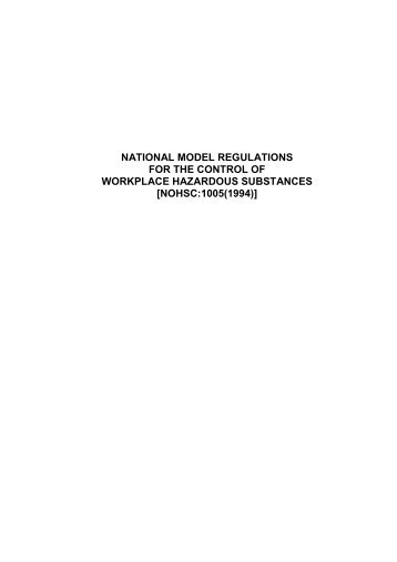 National Model Regulations for the Control of Workplace Hazardous ...