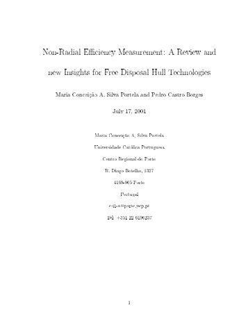 Non-Radial Efficiency Measurement: A Review and new Insights for ...