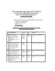 List of Inspection Agency approved by Tea Board - Tea Board of India