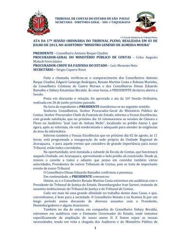 1 ata da 17ª sessão ordinária do tribunal pleno, realizada em 03 de ...