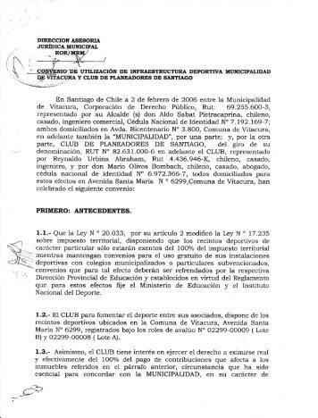 En Santiago de Chile a 2 de febrero de 20O6 entre la Municipalidad ...