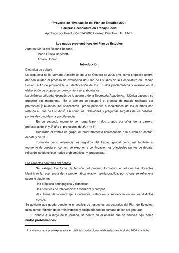 Los nudos problematicos del Plan estudios - Facultad de Trabajo ...