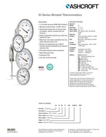 EI Series Bimetal Thermometers - Ashcroft