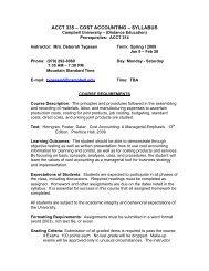 ACCT 335 – COST ACCOUNTING – SYLLABUS - Campbell University
