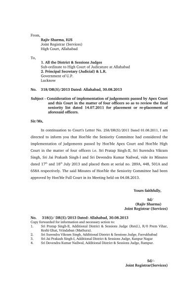 From, Rajiv Sharma, HJS Joint Registrar (Services) - High Court of ...