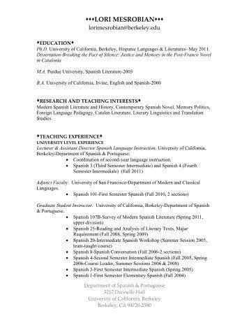 lori mesrobian - Spanish and Portuguese - University of California ...