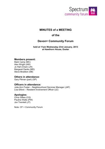 MINUTES of a MEETING of the Devon+ Community Forum