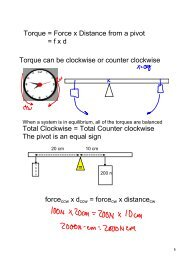 Torque = Force x Distance from a pivot = f x d Torque can be ...