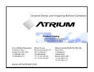 US Hospital Product Catalog - Atrium Medical Corporation