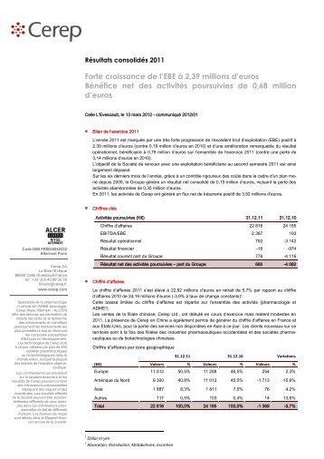 Résultats consolidés 2011 - Cerep