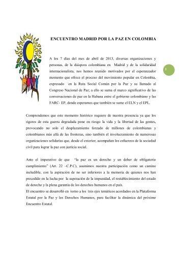 ENCUENTRO MADRID POR LA PAZ EN COLOMBIA - IEPALA