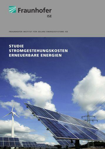 studie stromgestehungskosten erneuerbare energien