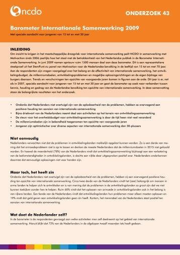 Barometer Internationale Samenwerking 2009 ... - NCDO