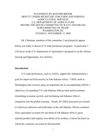 USDA's Perspective on the African Growth and Opportunity Act ...