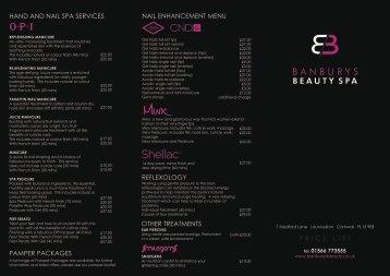 Price List V2 - Banburys Beauty