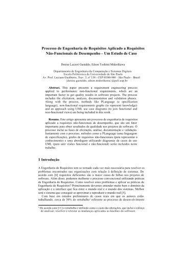 Processo de Engenharia de Requisitos Aplicado a ... - WER