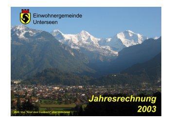Jahresrechnung 2003 - Unterseen