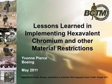 Lessons Learned in Implementing Hexavalent Chromium ... - E2S2