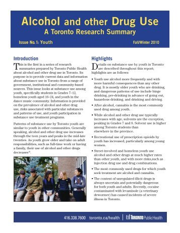 Alcohol and other Drug Use - City of Toronto