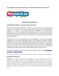 Multilingualism, also for children with an auditive or ... - Poliglotti 4