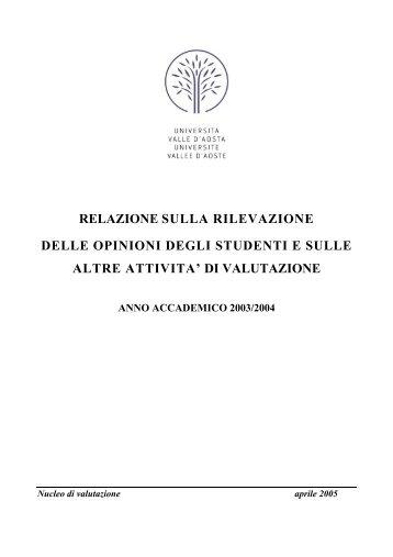 Relazione Nucleo rilevazione opinioni studenti - a.a. 2003/2004