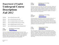 Fall 2012 Course Offerings - Department of English