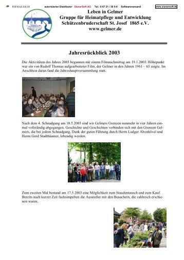 Jahresrückblick 2003 - Gelmer