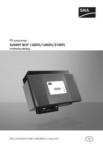 SUNNY BOY 1300TL/1600TL/2100TL - Installatiehandleiding