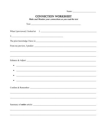 CONNECTION WORKSHEET