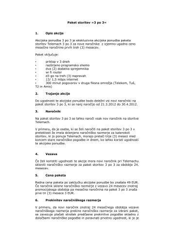 Paket storitev »3 po 3« 1. Opis akcije Akcijska ponudba ... - Telemach