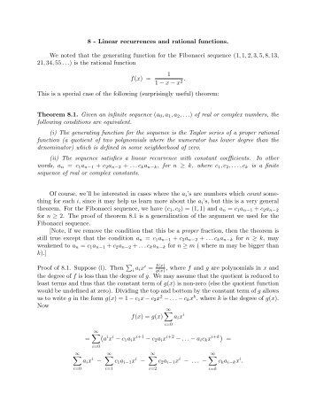 8 - Linear recurrences and rational functions. We noted that the ...