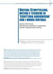 virtual storytelling. metodi e tecniche di 'scrittura audiovisiva' con i ...
