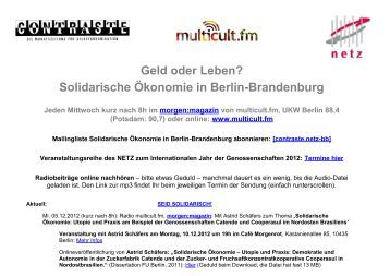 Geld oder Leben? Solidarische Ökonomie in Berlin-Brandenburg