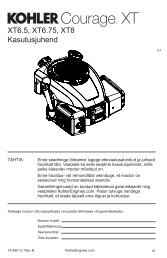 XT6.5, XT6.75, XT8 Kasutusjuhend - Kohler Engines